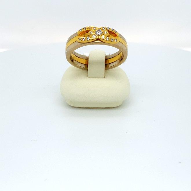 Bicolor occasion dames fantasie ring diamant