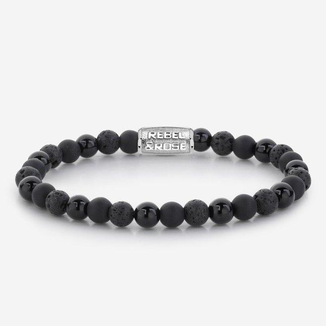 Rebel&Rose armband Stones Only - Black Rocks 60033-S