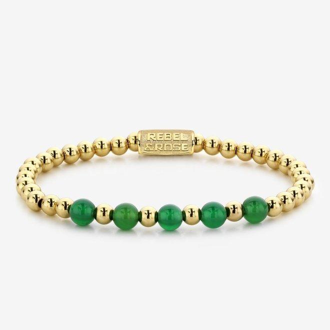 Rebel&Rose armband More Balls Than Most - Yellow Gold meets Green Harmony 60062-G