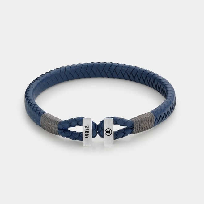 Rebel&Rose armband Connected in Leather Blue Grey L0106-S