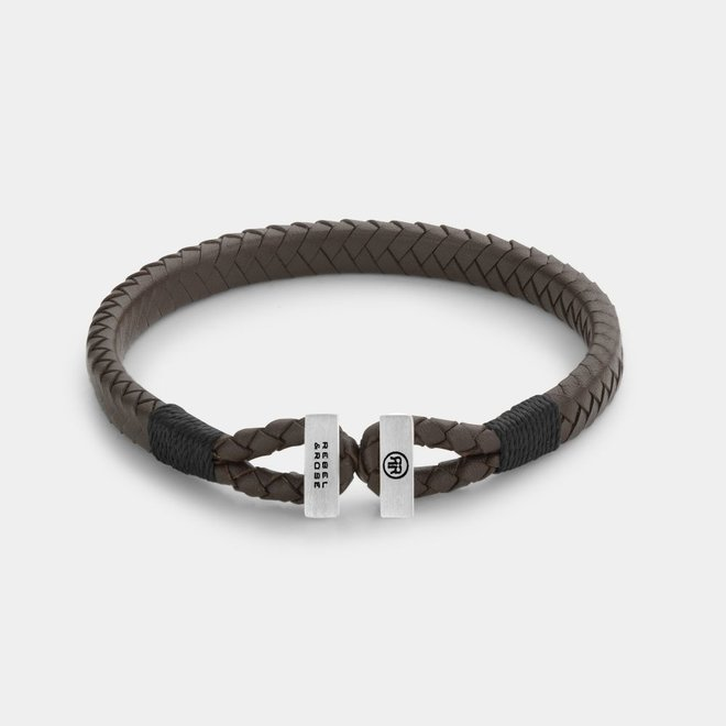 Rebel&Rose armband Connected in Leather Brown Black L0108-S