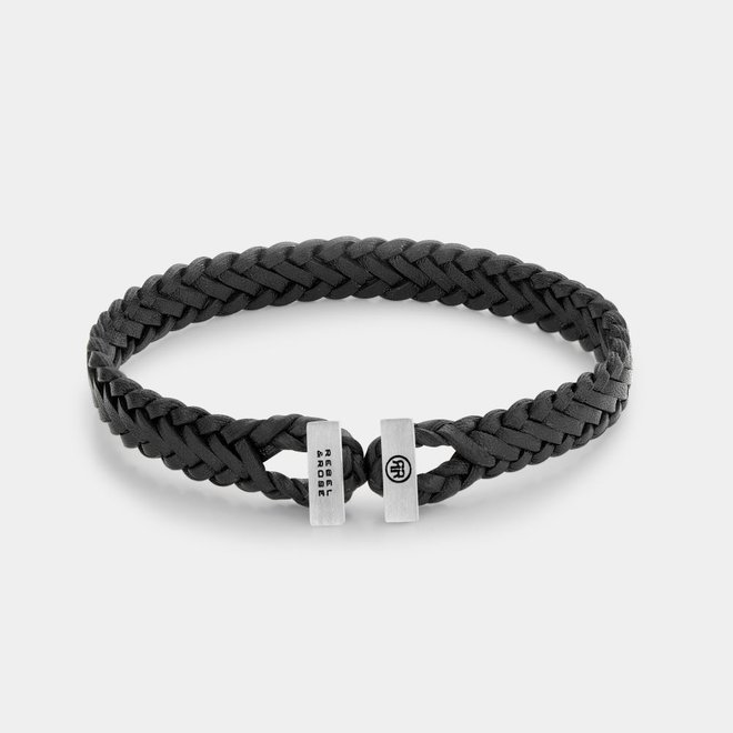 Rebel&Rose armband Connected in Leather Woven Gordian Style Black L0109-S