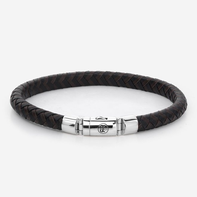 Rebel&Rose armband Absolutely Leather - Half Round Braided Black-Earth L0061-S
