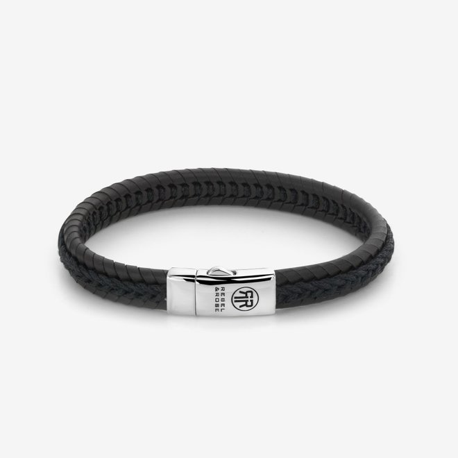 Rebel&Rose armband Absolutely Leather - Dual Twisted Black-Earth L0065-S