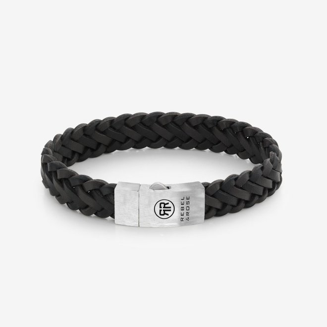 Rebel&Rose armband Absolutely Leather - Braided Raw Matt Black-Earth L0075-S