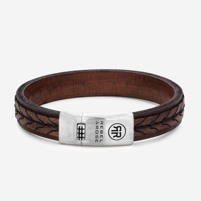Rebel&Rose armband Absolutely Leather - 2 Stranded 925 Earth L0079-S