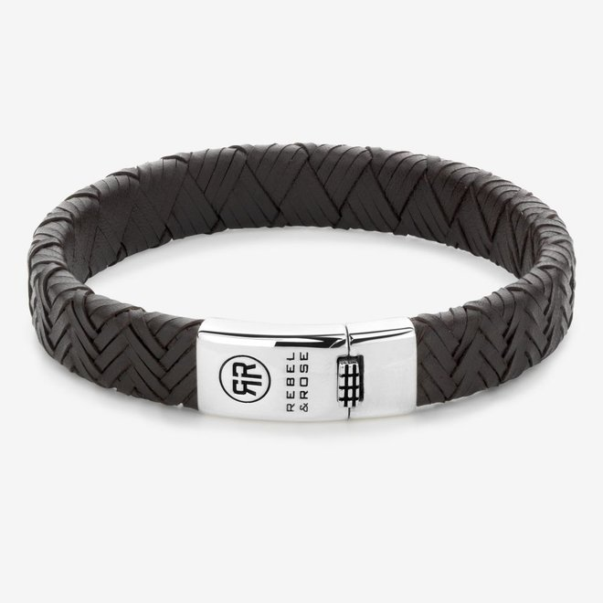 Rebel&Rose armband Absolutely Leather - Woven Flat Earth L0093-S