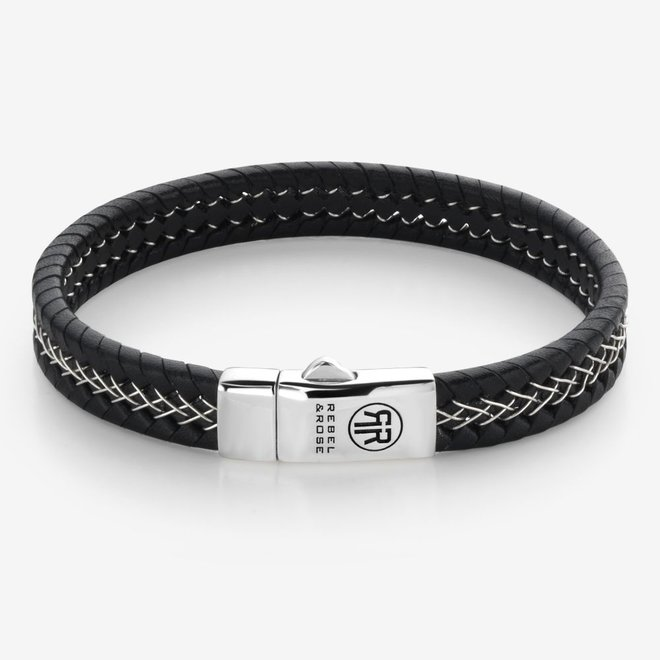 Rebel&Rose armband Absolutely Leather - Silver Wired Black L0100-S