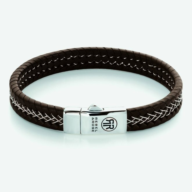 Rebel&Rose armband Absolutely Leather - Silver Wired Brown L0101-S