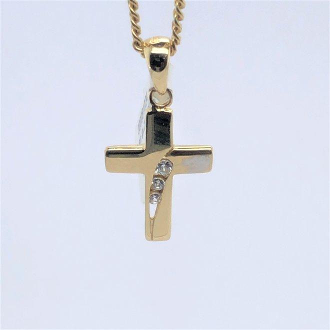 Geelgouden occasion hanger kruis met zirkonia