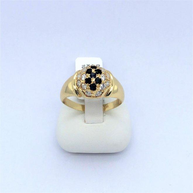 Geelgouden occasion ring saffier/diamant