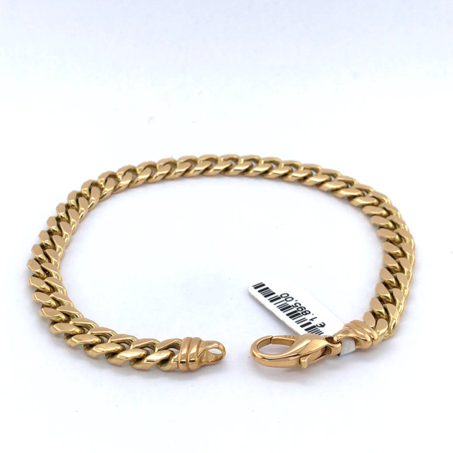 Geelgouden occasion armband gourmette massief