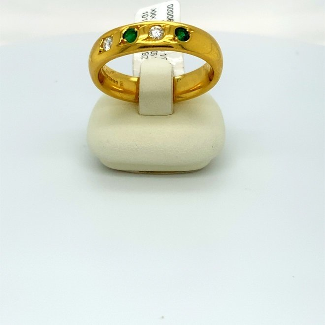 Geelgouden occasion ring smaragd/diamant
