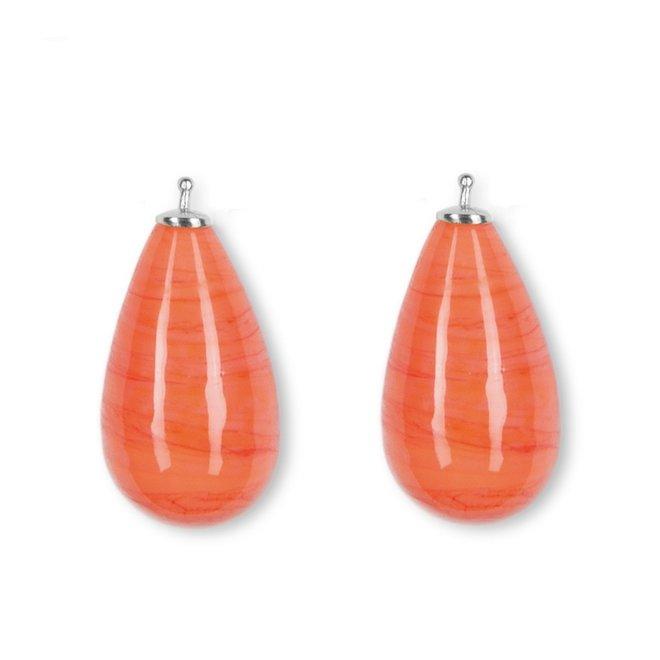 Heide Heinzendorff Kwartsglas druppel creoolhangers E430175