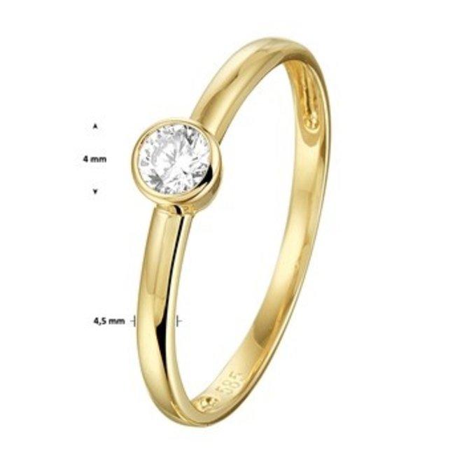 Gouden Essentials ring  zirkonia (No. 4) 40.20175