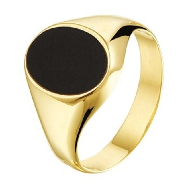 Gouden Essentials zegelring Onyx (No. 6) 40.14132
