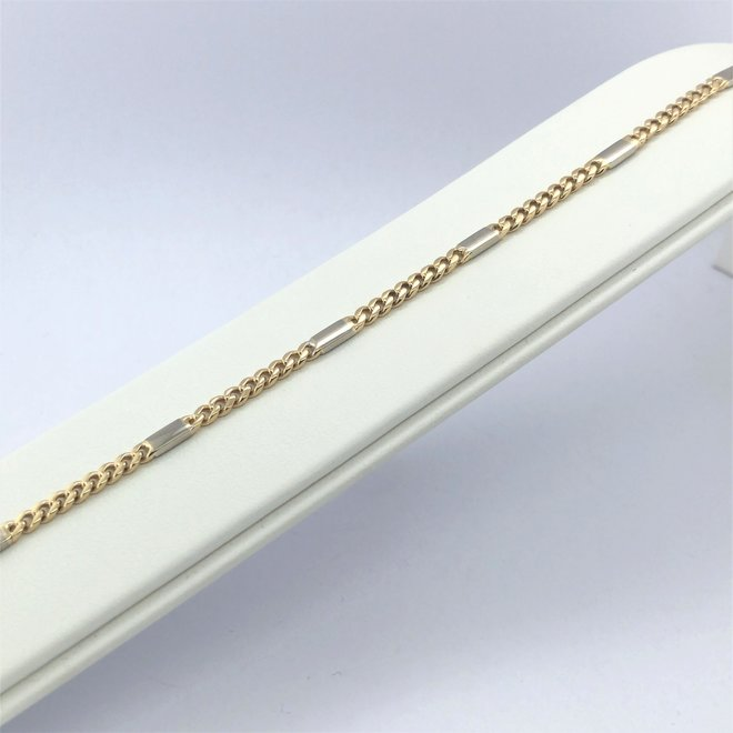 Geelgouden occasion armband gourmette bicolor occasion armband gourmette