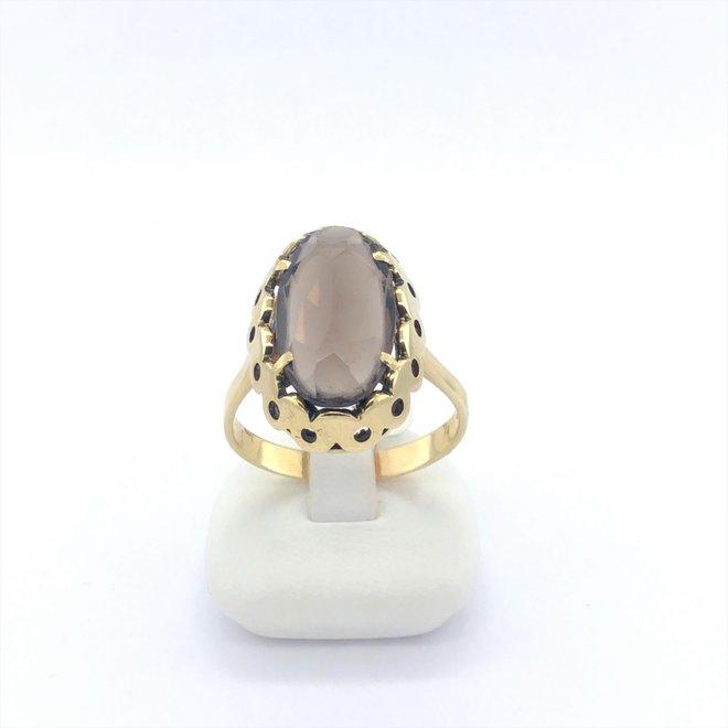Geelgouden occasion dames ring synthetische steen