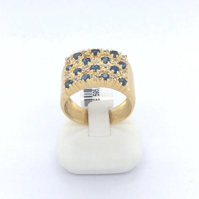 Geelgouden occasion dames ring met diamant en saffier