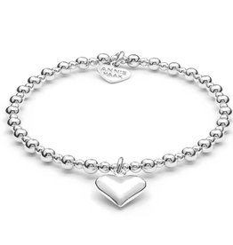 ANNIE HAAK MINI ORCHID HEART STERLING SILVER CHARM BRACELET  FROM ANNIE HAAK