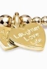 "SANTEENIE GOLD  ""LAUGHTER, LOVE, LIFE"" CHARM BRACELET  FROM ANNIE HAAK"