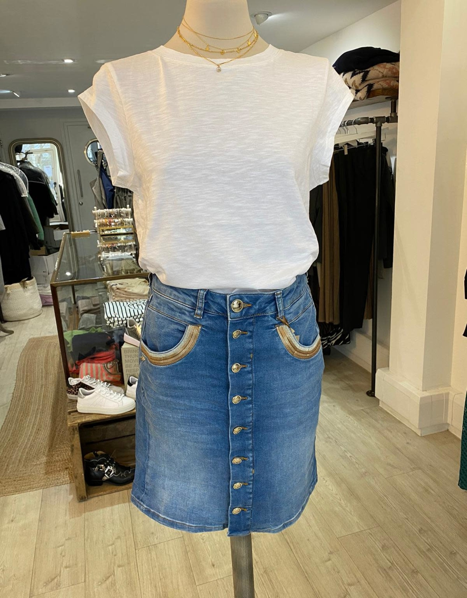 MOSMOSH DENIM VICKY WAVE SKIRT 137430