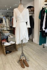 THE NATURAL PEOPLE LUXURY LINEN  BEACH WEAR TNP 007 / 010 2- PIECE SET BLOUSE WITH BOW AND SPANISH SKIRT WITH FRILL
