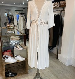 THE NATURAL PEOPLE LUXURY LINEN  BEACH WEAR TNP 016 LONG KHAFTAN / KIMONO WITH LACE