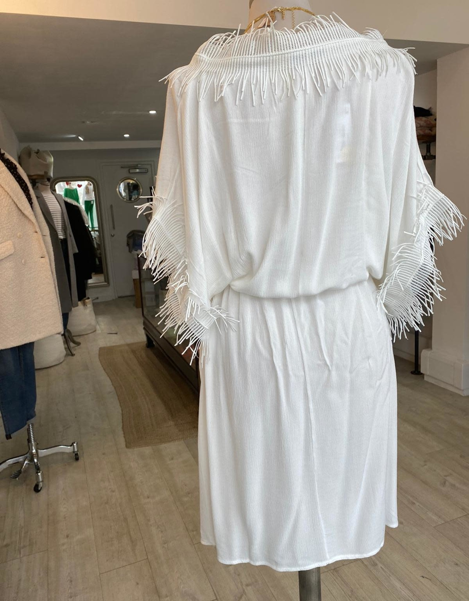 THE NATURAL PEOPLE LUXURY LINEN  BEACH WEAR TNP 020 TUNIC DRESS WITH FRINGE