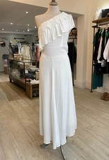 THE NATURAL PEOPLE LUXURY LINEN  BEACH WEAR TNP 027 ASYMMETRIC  ONE SHOULDER MIDI DRESS WITH SCALLOP
