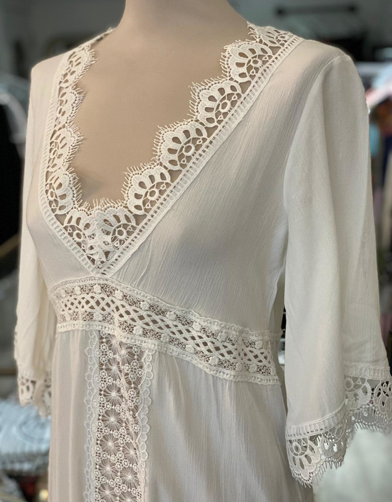 THE NATURAL PEOPLE LUXURY LINEN  BEACH WEAR TNP 033 TUNIC  DRESS WITH LACE