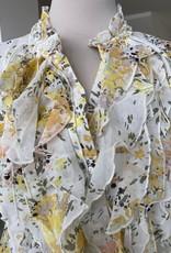 SAINT TROPEZ LILLYSZ SHORT SLEEVE BLOUSE IN YELLOW FLOWER SAINT TROPEZ 30510263