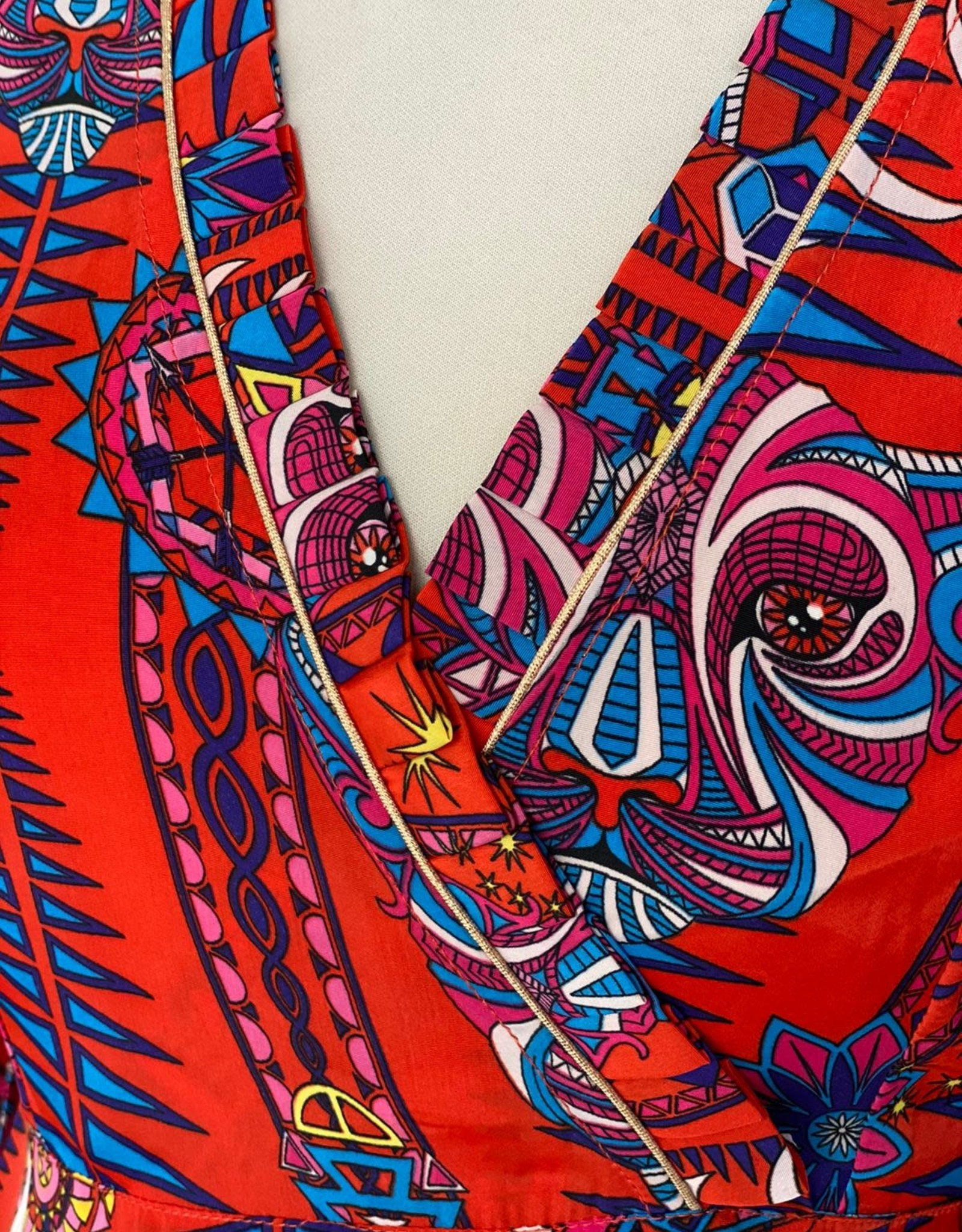 STARDUST TRIBAL PLEATED TRIM  DRESS ELECTRIC SUNSET RED