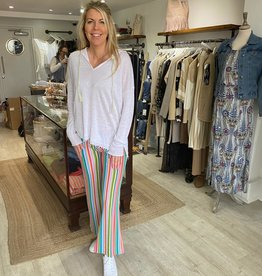 VILAGALLO MULTI STRIPED LOOSE TROUSERS 28185 STYLE VENUS VILAGALLO