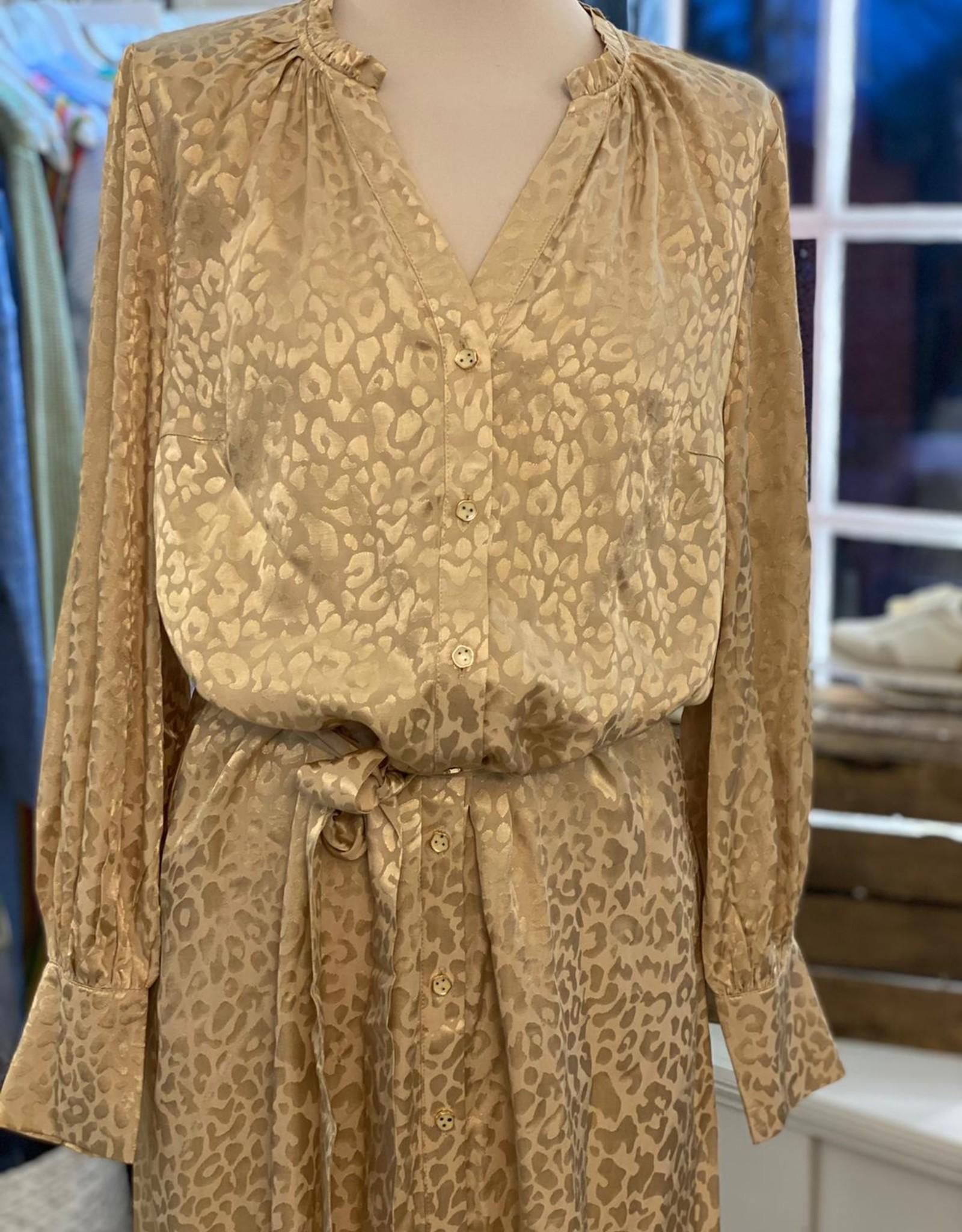 COSTER COPENHAGEN LONG SHIRT DRESS IN LEOPARD JAQUARD 211-5157