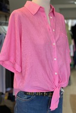 """FRNCH TIE FRONT BUTTON- UP BLOUSE W SHORT SLEEVES """"CANDYS"""" F11452 BY FRNCH"""
