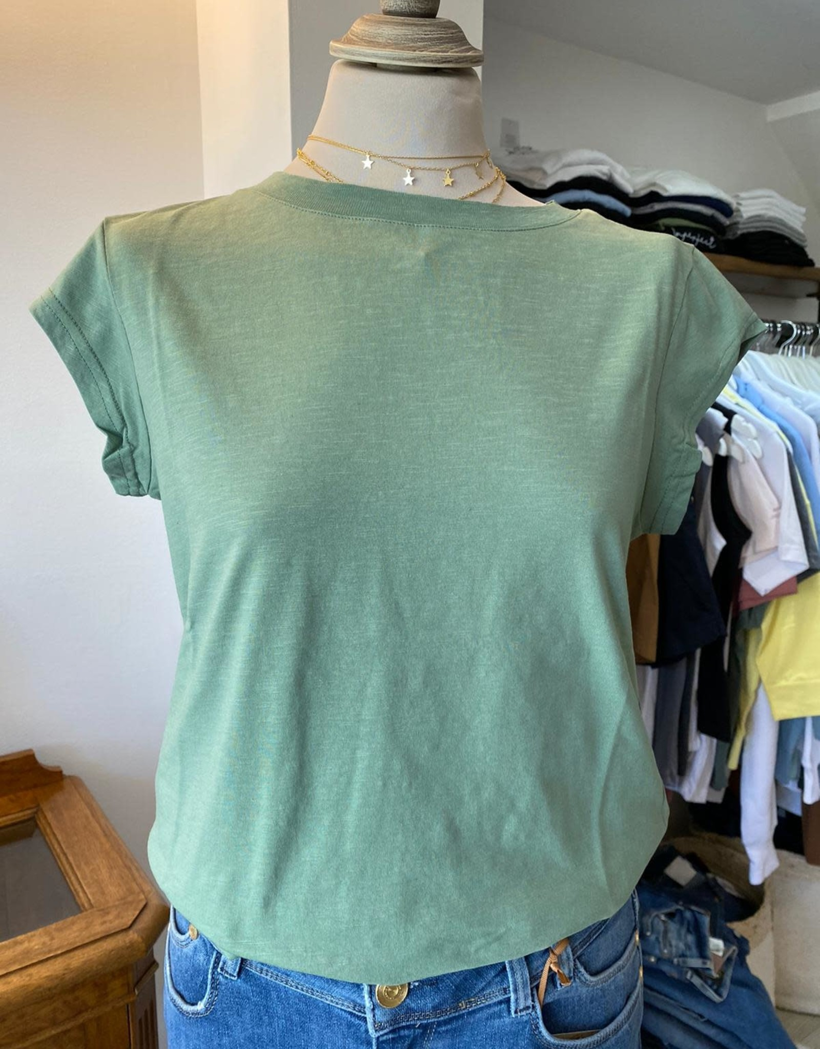 COSTER COPENHAGEN BASIC ROUND-NECK DUST GREEN 488 T-SHIRT B0017 / CCH1100 BY COSTER