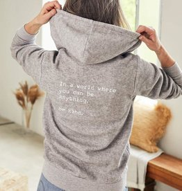 "OM & AH LONDON ""BE KIND"" SOFT GREY COMFORT ZIP HOODIE  BY OM & AH"