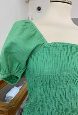 COMPANIA FANTASTICA SAM38 GREEN BLOUSE W PUFF SLEEVE