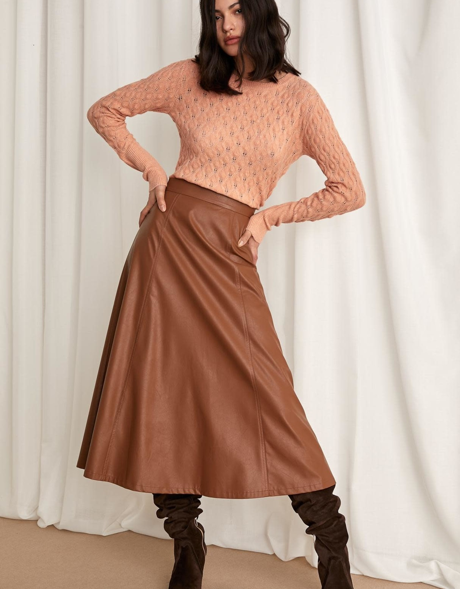 """EMME MARELLA """"COMICA"""" PLEATHER A-LINE SKIRT BY EMME"""