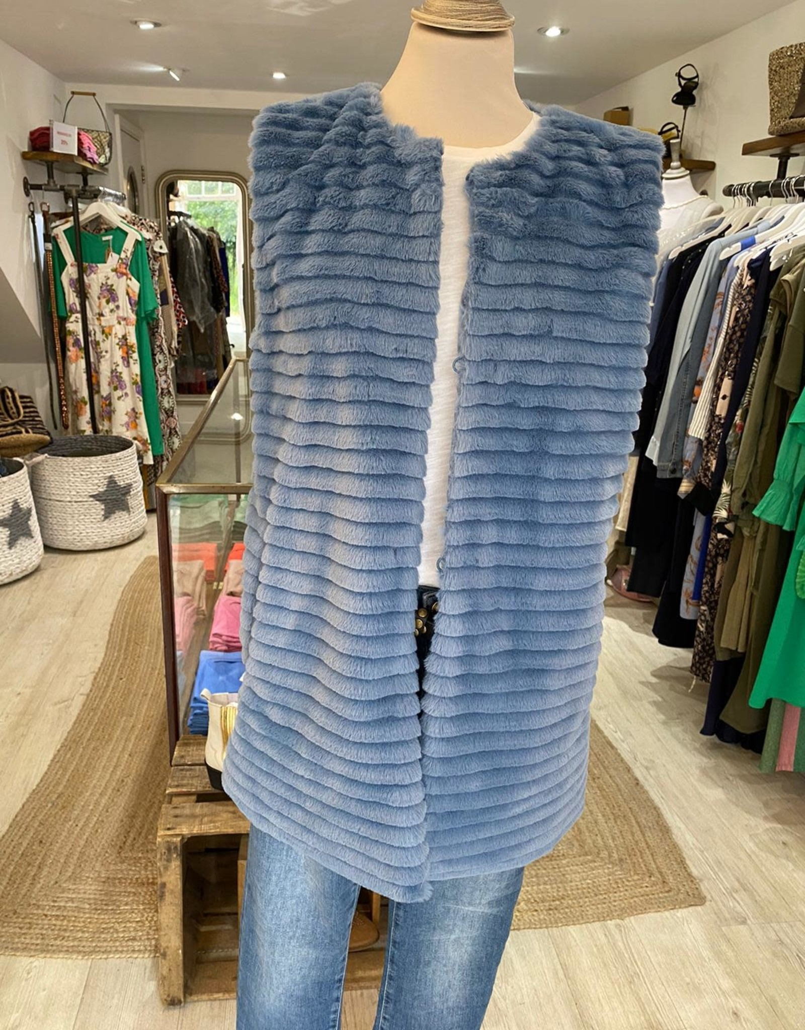 EMME MARELLA YALE FAUX FUR LONG TUNIC / VEST WITH ZIP FRONT BY EMME