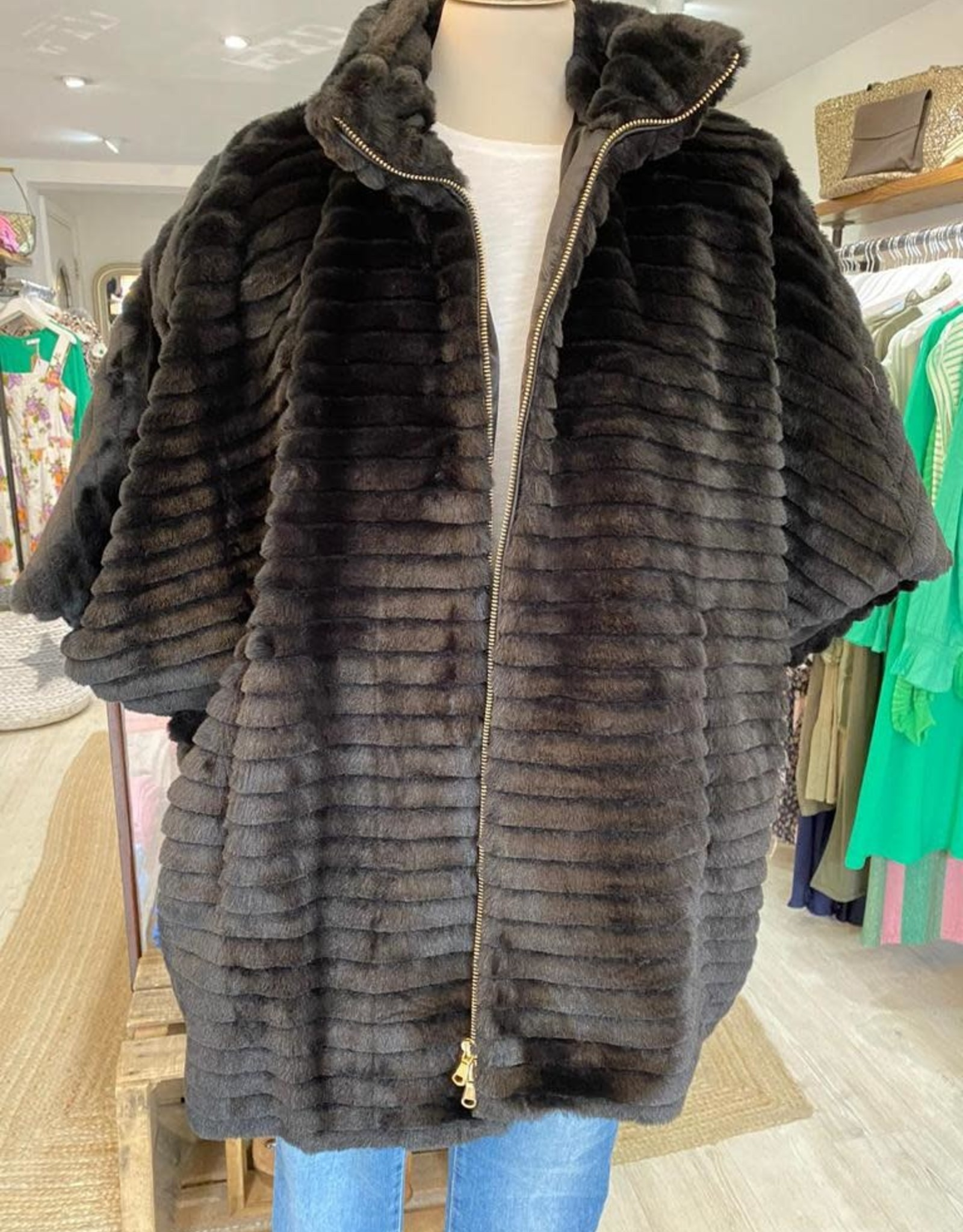 EMME MARELLA IDILLIO FAUX FUR OVER-SIZED COAT W 3/4 SLEEVE BY EMME