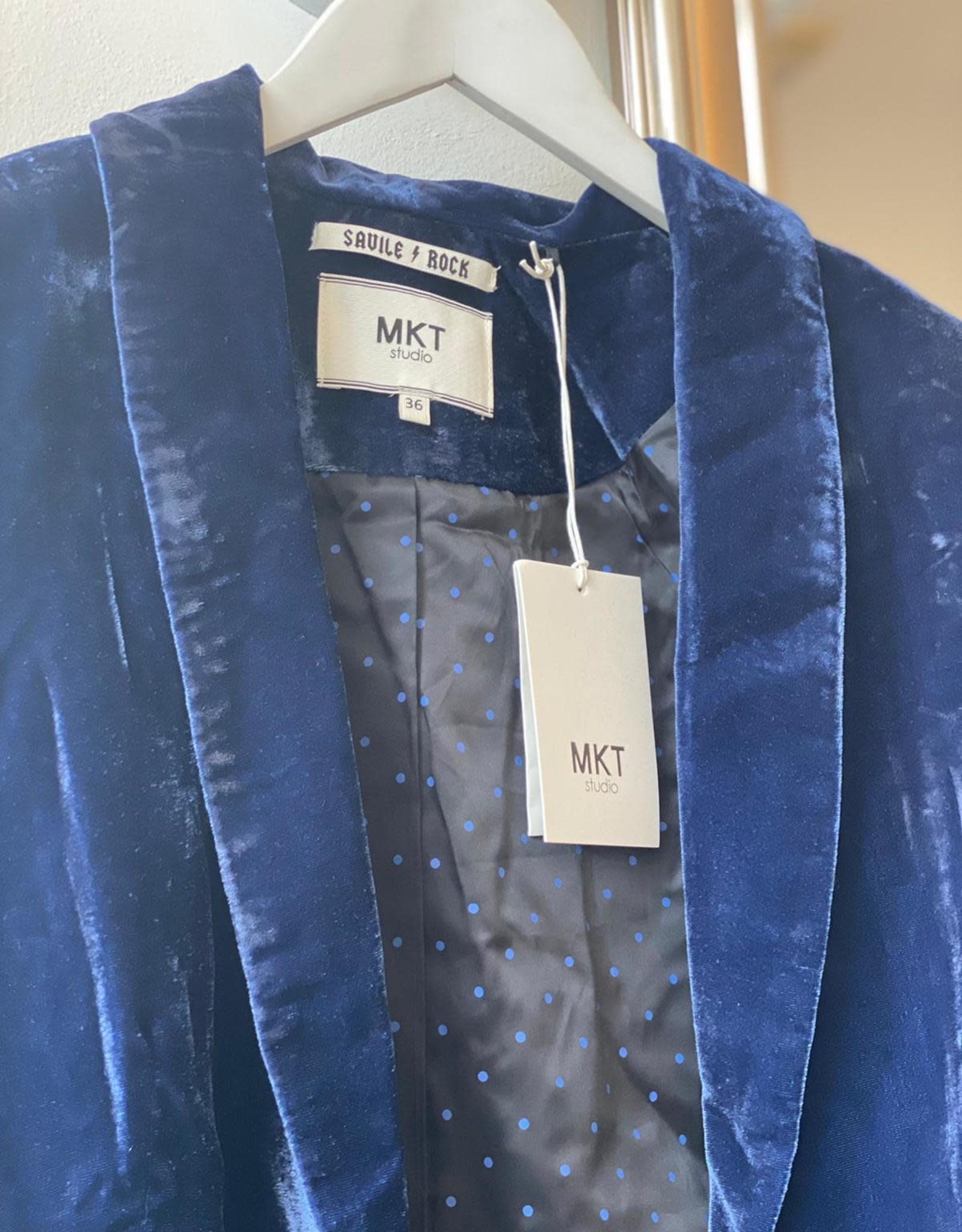 MKT STUDIO VIKAR SHAWL COLLAR BLUE VELVET JACKET / BLAZER MKT