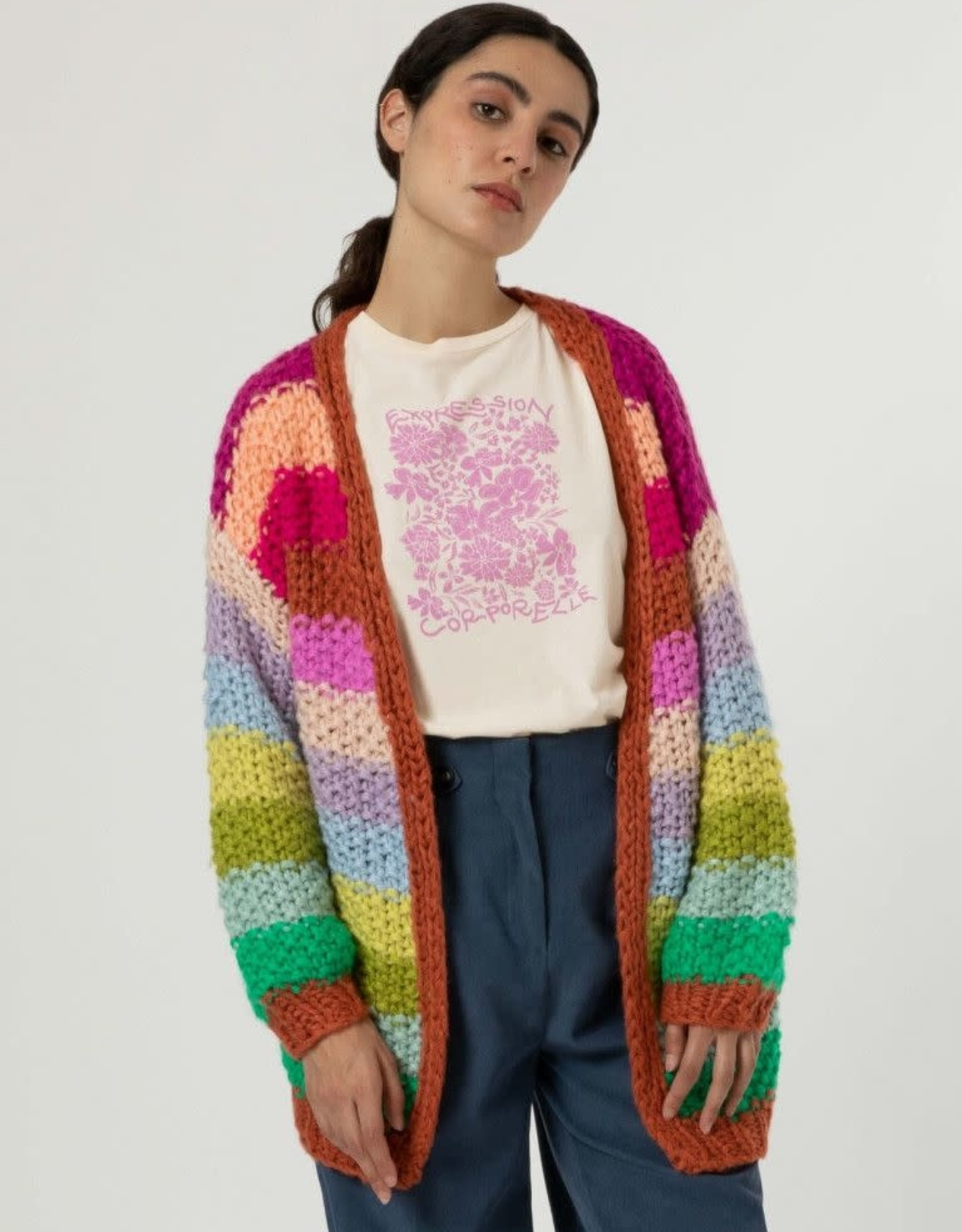 """FRNCH KNITTED GILET JACKET  """"LOBELIA"""" MS21-06 MS21-65 BY FRNCH"""