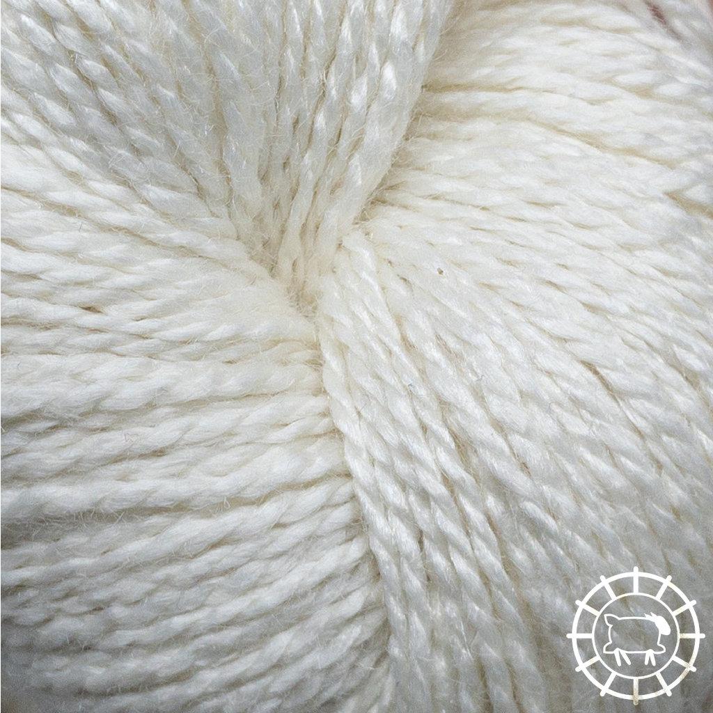 «Woolpack Yarn Collection» Bio-Seide Ahimsa – Weiss, ungefärbt, Seide lebender Schmetterlinge