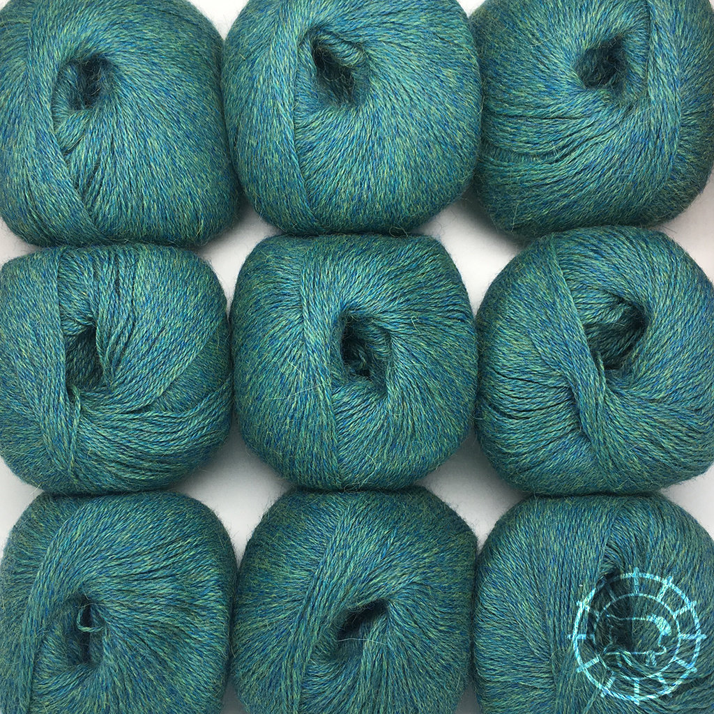 «Woolpack Yarn Collection» Baby Alpaca Fingering, chinée – Vert bleu