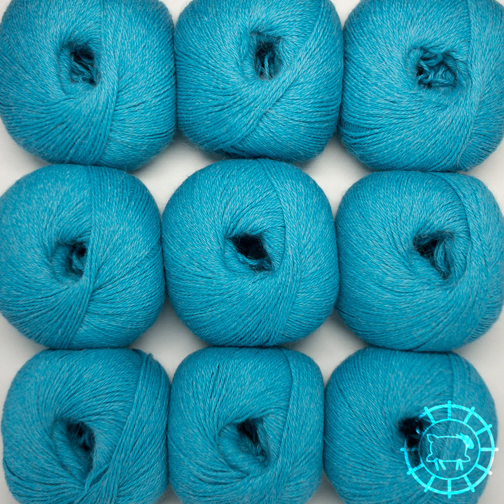 «Woolpack Yarn Collection» Baby Alpaca Fingering, chinée – Bleu ciel