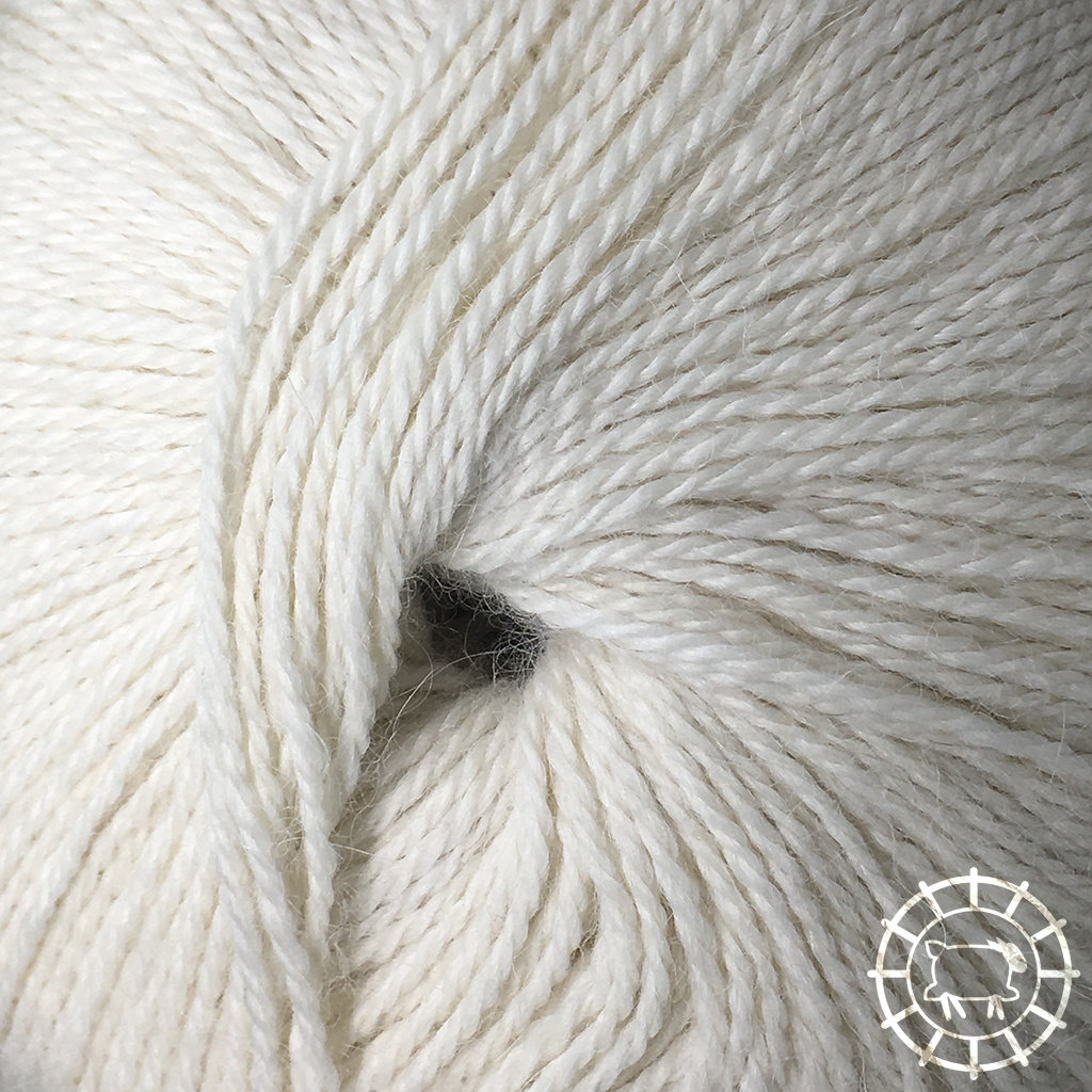 «Woolpack Yarn Collection» Baby Alpaca Fingering, non colorée – Blanc mouton