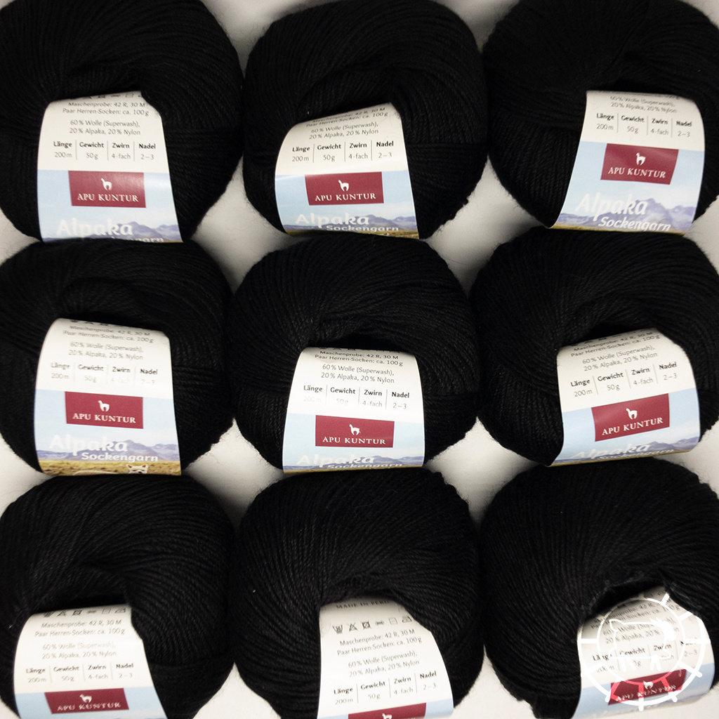 «Apu Kuntur» – Alpaca. Our Passion. Laine à chaussettes multicolore – Noir