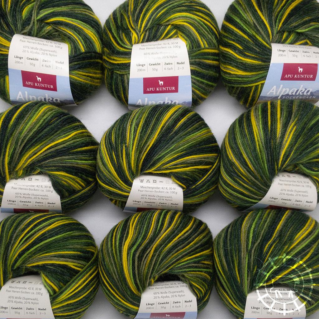 «Apu Kuntur» – Alpaca. Our Passion. Laine à chaussettes multicolore – Vert-Jaune